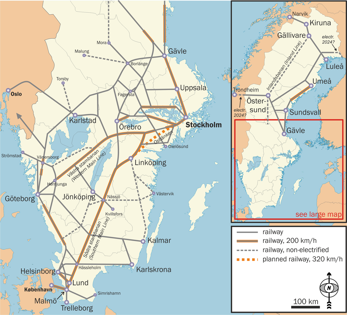 graphic relating to Scandinavia Map Printable called Rail shipping in just Sweden - Wikipedia