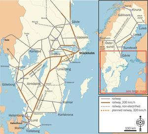 Rail transport in Sweden - System map.