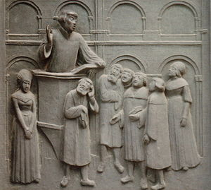 Huldrych Zwingli - Relief of Zwingli preaching at the pulpit, Otto Münch, 1935