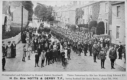 H Company, 8th Battalion (Territorial Force), Nottingham and Derbyshire Regiment, mobilising on 7 August 1914. TF Mobilisation.jpg