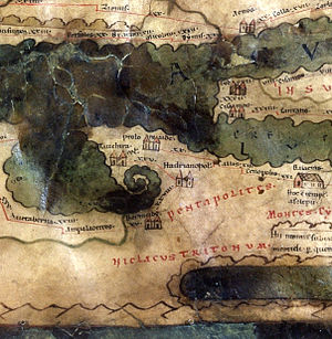 History of Benghazi - Euesperides was refounded as Berenice and became part of the Roman Pentapolis. This section of the Roman Tabula Peutingeriana itinerarium (road map) shows Berenice and the other cities of the Pentapolis which were bequeathed to Rome.