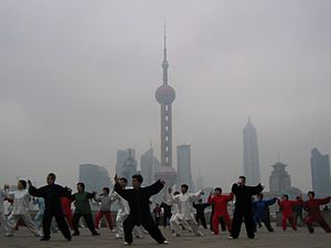 Chinese martial arts - The Yang style of taijiquan being practiced on the Bund in Shanghai