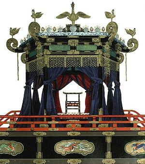 Chrysanthemum Throne - The Takamikura throne kept in the Kyoto Imperial Palace is used for accession ceremonies. It was last used during the enthronement of the current Emperor Akihito in 1990.