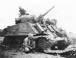 Mobility kill - M4 Sherman disabled by an anti-tank mine and five hits by Japanese artillery during the Battle of Iwo Jima in 1945