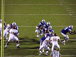 2010 Middle Tennessee Blue Raiders football team - Phillip Tanner carries the ball late in the second quarter.