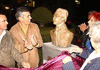 Prefeito de Viamão Alex e Lais Rocha na inauguração do busto de Tapir Rocha