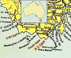 South East Cape - 1916 map of the south coast of Tasmania, showing South East Cape