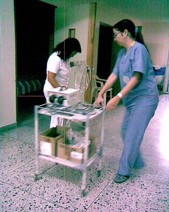 Health care in Colombia - A psychiatry resident prepares to carry out ECT therapy at the mental health unit of the Federico Lleras Acosta in Ibagué