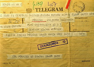 Martial law in Poland - A censored telegram, 1982