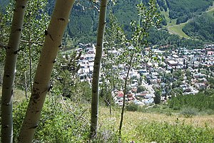 Telluride Historic District - Telluride from a hiking trail above, in 2005