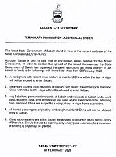 Temporary Prohibition in Sabah