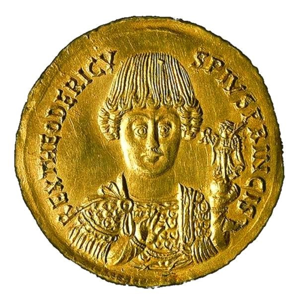 Coin depicting Theoderic the Great (475-526) of Ostrogothic Kingdom
