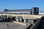 Terminal 2 AirTrain station facing east, August 2018.JPG