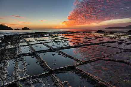 Tessellated pavement, a rare rock formation on the Tasman Peninsula Tessellated Pavement Sunrise Landscape.jpg
