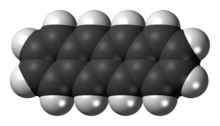 Space-filling model of the tetracene molecule
