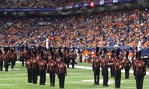 I-35 Rivalry - The Texas State Bobcat Marching Band performs at the Alamodome during halftime at the inaugural football game against UTSA