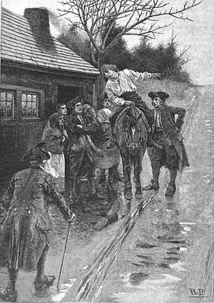 History of Knoxville, Tennessee - Howard Pyle's depiction of a scout warning Knoxvillians of the approach of a hostile Cherokee (Chickamauga) force in 1793