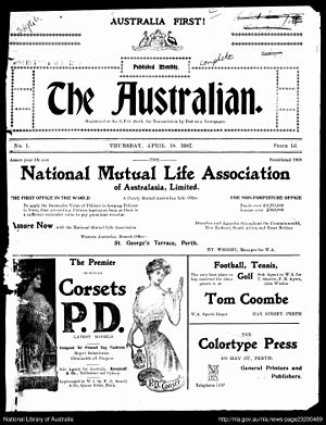 The Australian (Perth 1907–08) - The front page of the first issue of The Australian, published on 18 April 1907