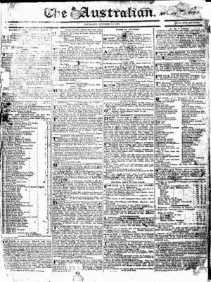 The Australian (1824 newspaper) - The front page of The Australian newspaper on Thursday 14 October 1824