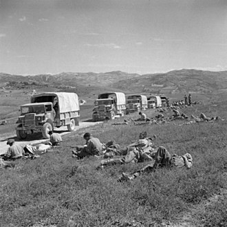 Brian Robertson, 1st Baron Robertson of Oakridge - A line of supply lorries and their crews wait to move on during the breakthrough into the Gothic Line, 7 September 1944.
