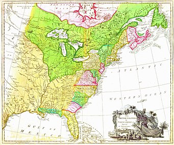 "MAP of the British North American colonies in 1777. (1) To the north is British Quebec, the French 1763 cession in green, north of the St. Lawrence River, east to the Atlantic, west to the Great Lakes, then south along the Mississippi River to its confluence with the Ohio River. (2) To the south are the Floridas, the Spanish 1763 cessions of East Florida in green (Mobile and Pensacola) and West Florida in light yellow (the [[Florida peninsula south of the St. John's River and east of the Apalachicola River). (3) The Atlantic seaboard colonies number ten in a way unfamiliar to the modern eye. Georgia, South Carolina, North Carolina, Virginia and Maryland are all limited west by the 1763 Royal Proclamation. Pennsylvania had a treaty west nearly to its modern border. Delaware was the same three counties ceded from Pennsylvania. New York was west only the Lake Erie midpoint where the Seneca River empties into it. The Massachusetts (and its Maine), New Hampshire, Connecticut, and Rhode Island are all labelled ""New England"", Nova Scotia includes the island and modern New Brunswick."