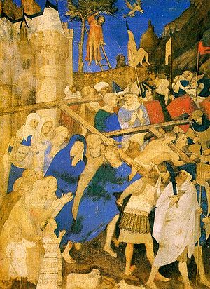 Jacquemart de Hesdin - The Carrying of the Cross by Jacquemart, before 1409 (Louvre)