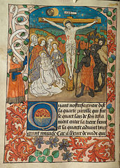 The Crucifixion Christ dead on the Cross, with the Virgin Mary, John and the Three Maries mourning