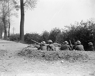 15th (Scottish) Infantry Division - Outpost manned by men of the 11th (Service) Battalion, Argyll and Sutherland Highlanders on a road beside the Lys Canal near Saint-Floris, 9 May 1918.
