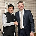 The Minister for Foreign Affairs of Iceland, Mr. Gunnar Bragi Sveinsson meeting the Minister of State (Independent Charge) for Power, Coal and New and Renewable Energy, Shri Piyush Goyal, in New Delhi on April 05, 2016.jpg
