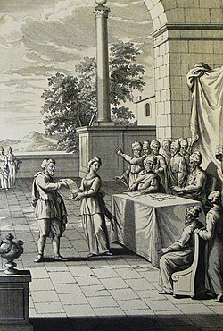 The Phillip Medhurst Picture Torah 608. Divorcing a wife. Deuteronomy cap 24 v 1. Schenck.jpg