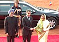 The President, Smt. Pratibha Devisingh Patil and the Prime Minister, Dr. Manmohan Singh, at the ceremonial reception of the President of France, Mr. Nicolas Sarkozy, in New Delhi on January 25, 2008.jpg