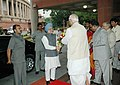 The Prime Minister, Dr. Manmohan Singh is being received by the Speaker, Lok Sabha, Shri Somnath Chatterjee for the inauguration of Parliament Museum, in New Delhi on August 14, 2006.jpg
