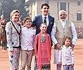 The Prime Minister, Shri Narendra Modi welcomes the Prime Minister of Canada, Mr. Justin Trudeau and his Family, at the Ceremonial Reception, at Rashtrapati Bhavan, in New Delhi on February 23, 2018 (2).jpg