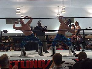 The Young Bucks - The Young Bucks posing before a Pro Wrestling Guerrilla match in 2009