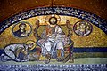 The so-called Imperial Gate Mosaics, late 9th to early 10th century CE. Hagia Sophia, Istanbul, Turkey. Byzantine emperor Leo VI bows before Christ Pantocrator (who is flanked by the Archangel Gabriel and Mary).jpg