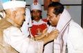 Then President Sri Shankardayal Sharma Felicitating Sri Balakrishna Prasad.tif