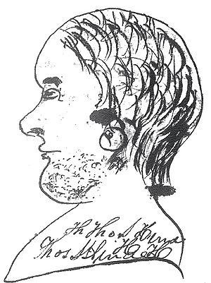 Thomas S. Hinde - A rough sketch of Thomas S. Hinde done by his son. It is the only known portrait of him.