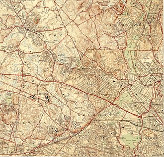 Lexington, Massachusetts - Topography of Lexington and environs
