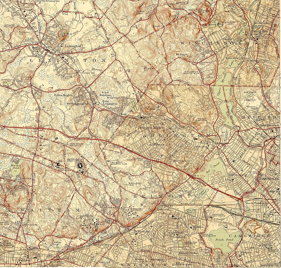 Topographic maps of Arlington, Belmont, Lexington Massachusetts 1946