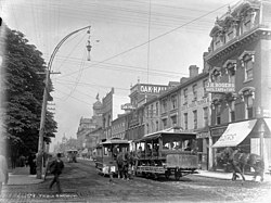 Toronto Street Railway Co. horse-car 145 on King street. View from Church street.jpg