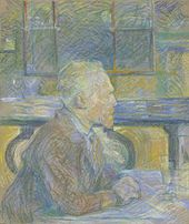 blue-hued pastel drawing of a man facing right, seated at a table with his hands and a glass on it while wearing a coat and with windows in the background