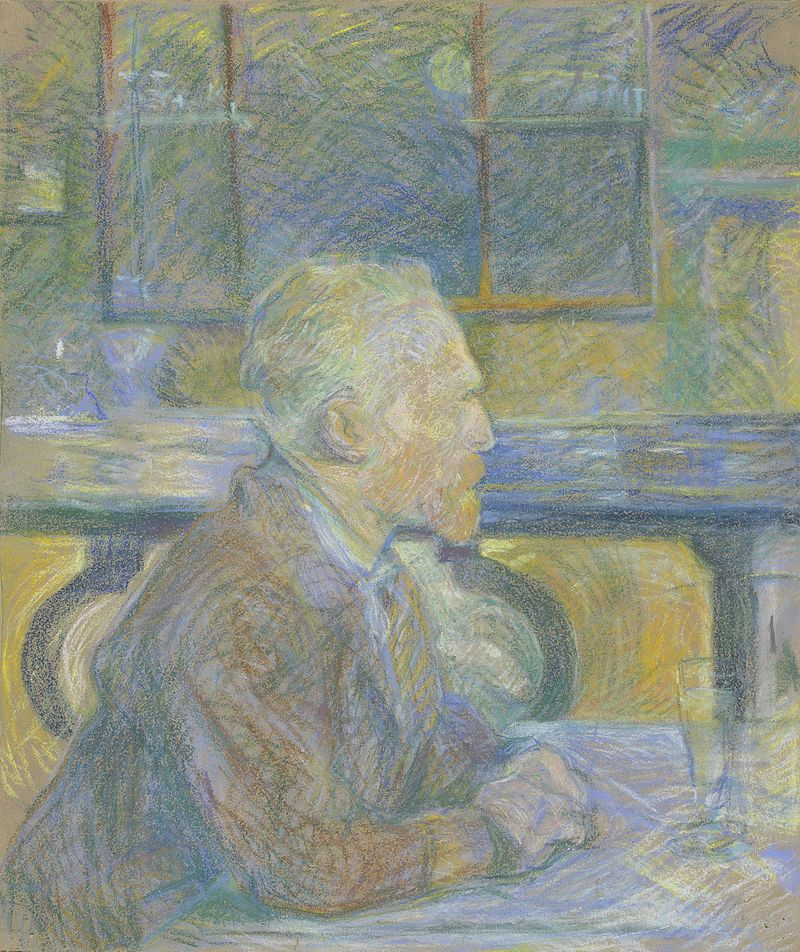 Blue-hued pastel drawing of a man facing right, seated at a table with his hands and a glass on it. He is wearing a coat. There are windows in the background.