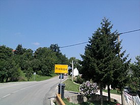 Traffic sign at the entrance to the village Prekopa.jpg