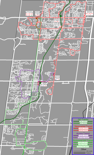 """Newmarket Transit - Newmarket Transit routes with other transit services in """"upper"""" York Region. Fall 1998 - Summer 1999."""