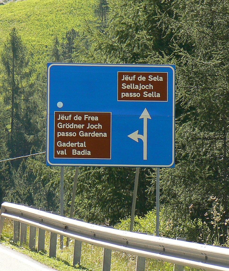 Trilingual road sign in Val Gardena