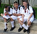Trio of Schoolboys outside Lanna Folklife Museum - Chiang Mai - Thailand (35137768305).jpg