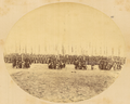 Troops Carrying Flags in Military Formation, Preceded by Four Cannons. Gansu Province, China, 1875 WDL1912.png