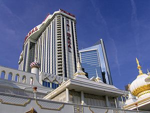 Hard Rock Hotel & Casino Atlantic City - View of the main building and The Chairman Tower from the boardwalk.
