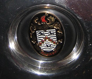 "Crest on hubcap of ""Tucker Torpedo"" ..."