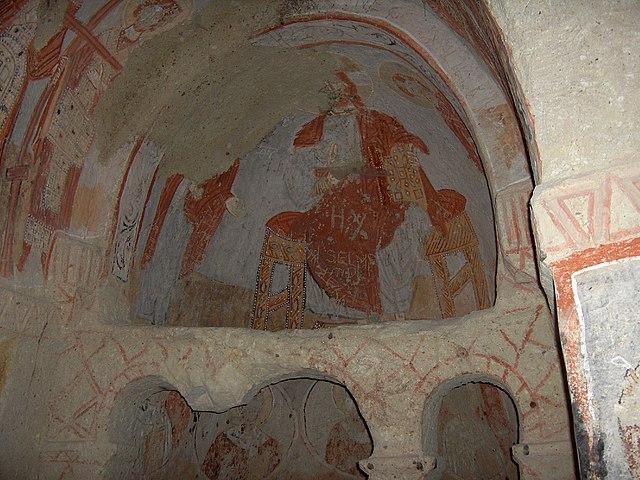 Fresco de un pantocrator en la Iglesia de Santa Bárbara, Göreme Open Air Museum
